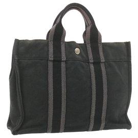 Hermès-HERMES Fourre Tout PM Hand Bag Black Cotton Auth cr766-Black