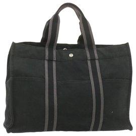 Hermès-HERMES Fourre Tout GM Tote Bag Black Cotton Auth cr767-Black