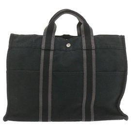 Hermès-HERMES Fourre Tout MM Hand Bag Black Cotton Auth cr768-Black