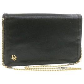 Dior-Christian Dior 2Way Chain Clutch Sac à bandoulière en cuir noir Auth ar3655-Noir
