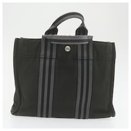 Hermès-HERMES Fourre Tout Hand Clutch Bag 2Set Black Cotton Auth se001-Black