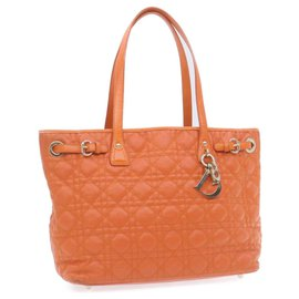 Dior-CHRISTIAN DIOR Lady Dior Canage Tote Bag Orange PVC Leather Auth se003-Orange