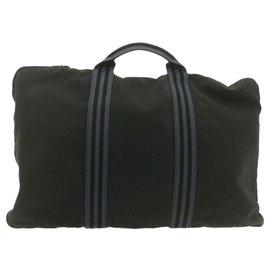 Hermès-HERMES Fourre Tout Hand Bag Black Cotton Auth th1045-Black