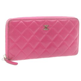 Chanel-CHANEL Lamb Skin Matelasse Long Wallet Pink CC Auth th1120-Pink