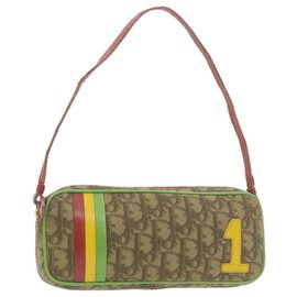 Dior-CHRISTIAN DIOR Rasta Color Trotter Canvas Hand Pouch Beige PVC Auth th1121-Beige