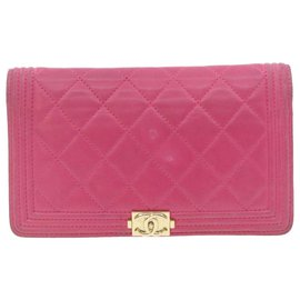 Chanel-CHANEL Lamb Skin Matelasse Boy Chanel Long Wallet Pink CC Auth th1177-Pink