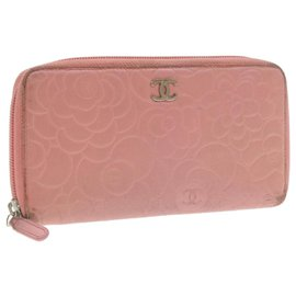 Chanel-CHANEL Camellia Long Wallet Pink Leather CC Auth yt039-Pink