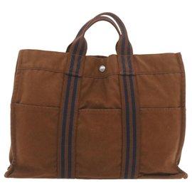 Hermès-HERMES Fourre Tout MM Hand Bag Brown Cotton Auth yt049-Brown