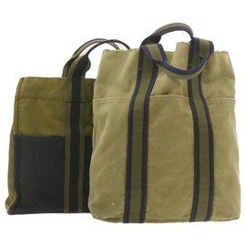 Hermès-Hermès Fourre Tout 2Set Hand Bag Khaki Navy 2Set Cotton Auth ti433-Khaki