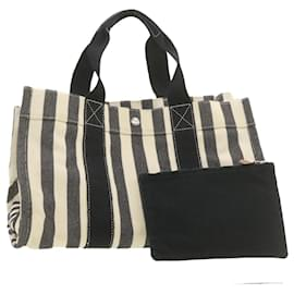 Hermès-HERMES Cannes MM Hand Bag Black White Canvas Auth yt070-Black,White