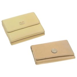 Chanel-CHANEL Wallet Key Case 2Set Beige Leather CC Auth yt100-Beige