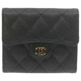 Chanel-CHANEL Caviar Skin Matelasse Wallet Black Leather CC Auth 20801-Black