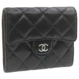 Chanel-CHANEL Matelasse Wallet Black Leather CC Auth 20802-Black