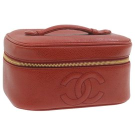 Chanel-CHANEL Caviar Skin Leather Vanity Cosmetic Pouch Hand Bag Red Auth 20804-Red