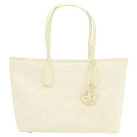 Dior-CHRISTIAN DIOR Canage Tote Bag Cuir PVC Blanc Auth rd1900-Blanc