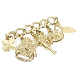 Chanel-CHANEL CC Logos Brooch Gold Tone Auth 20868-Golden