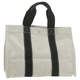 Hermès-HERMES Canvas Tote Bag Gray Cotton Auth 20875-Grey