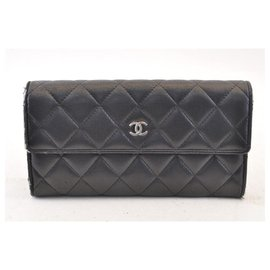 Chanel-CHANEL Lamb Skin Leather Long Wallet Black CC Auth sa1151-Black