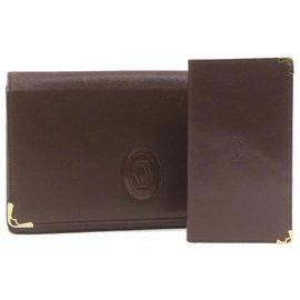 Cartier-CARTIER Must Line Pochette Portefeuille En Cuir Bordeaux 2Définir l'authentification 20962-Autre