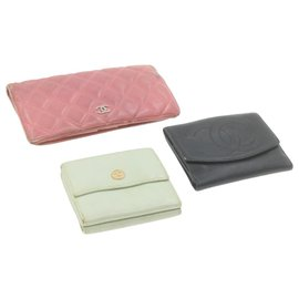 Chanel-CHANEL Matelasse Coco Button Wallet 3Set Leather CC Auth 20974-Black,Pink,Light blue