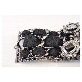 Chanel-CHANEL CC Logos Black Silver Chain Bracelet Auth sa1441-Black,Silvery
