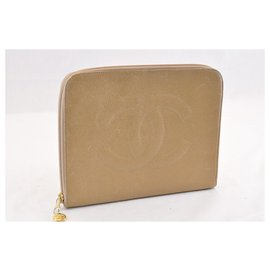Chanel-CHANEL Caviar Skin Leather Pouch Beige CC Auth sa1523-Beige