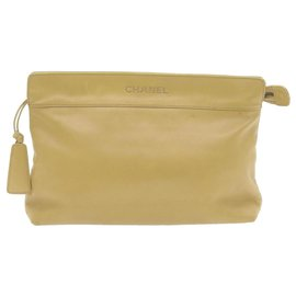 Chanel-CHANEL Lamb Skin Clutch Bag Beige CC Auth gt662-Beige