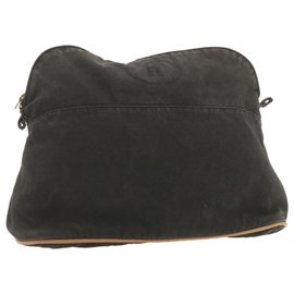Hermès-HERMES Bolide Cosmetic Pouch Black Canvas Auth ar3368-White