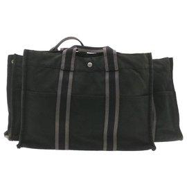 Hermès-Hermès Fourre Tout MM 3Set Hand Bag 3Set Black Cotton Auth ar3434-Black