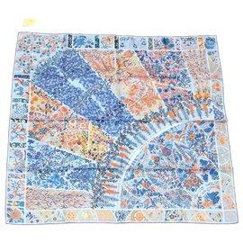 "Hermès-HERMES scarf """"FLEURS DE GIVERNY"""" 100% Silk Blue Auth 17088-Blue"