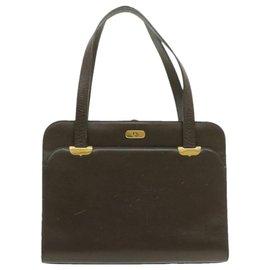 Dior-CHRISTIAN DIOR Sac à main en cuir Marron Auth 17161-Marron
