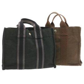 Hermès-Hermès Fourre Tout PM 2set Hand Bag Black Brown Cotton Canvas Auth 19726-Brown,Black