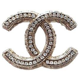 Chanel-Silver CC brooch and rhinestones-Silvery