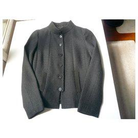 Chanel-CHANEL UNIFORM Veste tweed col Mao T36 very good condition-Black