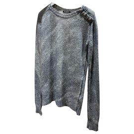 Balmain-Warm Balmain knitted sweater-Grey