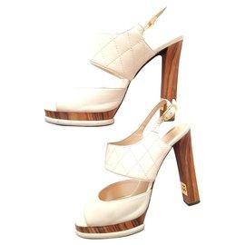 Chanel-Chanel high heel sandals-White