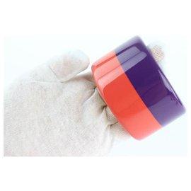 Hermès-Hermès Multicolor Coral and Purple Colombo 3 Enamel Bangle Bracelet-Multiple colors