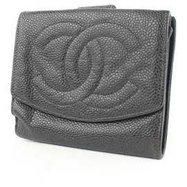 Chanel-Black Large Logo Cc Caviar Coin Purse Square Wallet-Black