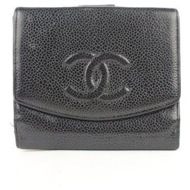 Chanel-Black Caviar CC Logo Coin Purse Square Wallet-Black