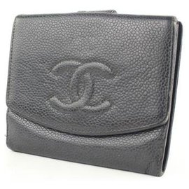 Chanel-Chanel Black Caviar Cc Logo Square Compact Purse Wallet-Black