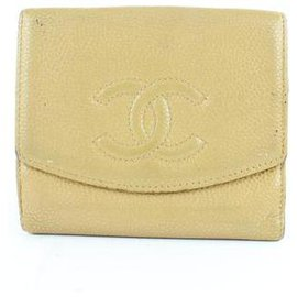 Chanel-Beige Caviar Cc Logo Coin Purse Compact Wallet-Beige