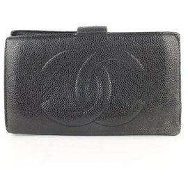Chanel-Black Caviar Cc Logo Long Bifold Wallet-Black