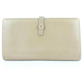 Chanel-Taupe Cc Button Line Long Bifold Wallet-Beige