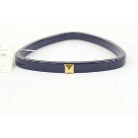 Hermès-Hermès Blue Navy and Gold Idylle Triangle Bangle Bracelet-Navy blue