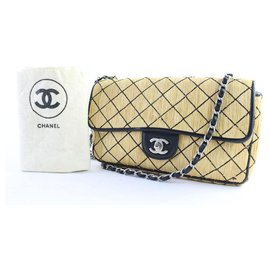 Chanel-Chanel Quilted Straw Classic Flap-Beige