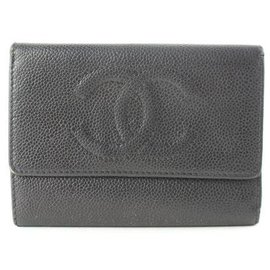 Chanel-Caviar Leather CC Logo Wallet-Black
