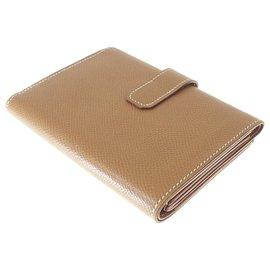 Hermès-Hermes Brown Jura Trifold Leather Long Wallet-Brown
