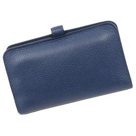 Hermès-Hermes Blue Dogon Leather Card Holder-Blue