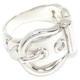 Hermès-Hermes Silver Belt Buckle Ring-Silvery