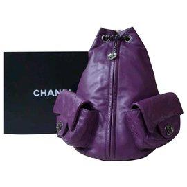 Chanel-Chanel Purple Lambskin Large Backpack-Purple